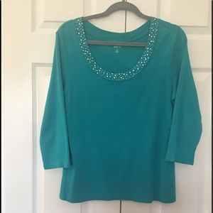 Style blouse L aqua scoop neck top like new